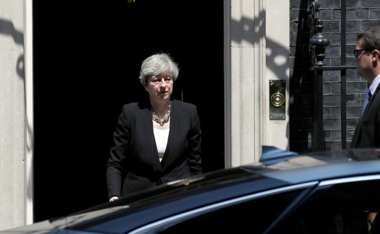 Britain's Prime Minister, Theresa May, leaves after speaking outside 10 Downing Street, following the attack at Finsury Park Mosque, in central London, Britain June 19, 2017.  REUTERS/Stefan Wermuth