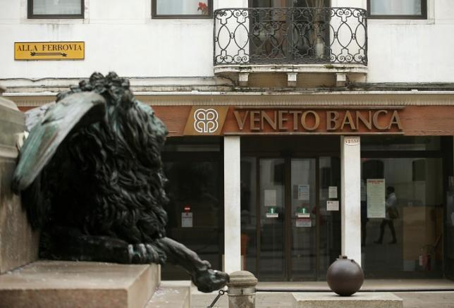 The logo of Veneto Banca bank is seen in Venice, Italy, January 31 2016.  REUTERS/Alessandro Bianchi/File Photo