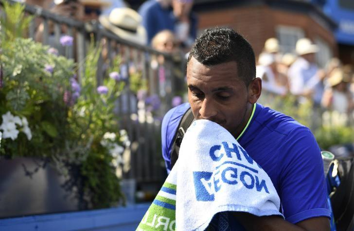 Britain Tennis - Aegon Championships - Queen's Club, London - June 19, 2017 Australia's Nick Kyrgios looks dejected after retiring from his first round match against USA's Donald Young Action Images via Reuters / Tony O'Brien Livepic