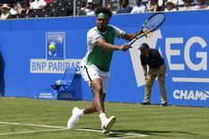 لاعب التنس الفرنسي جو ويلفريد تسونجا يستعد لضرب الكرة خلال مباراته أمام مواطنه ادريان مانارينو في بطولة كوينز للتنس في لندن يوم الاثنين. تصوير: توني أوبراين - رويترز. تستخدم الصورة في الاغراض التحريرية فقط.