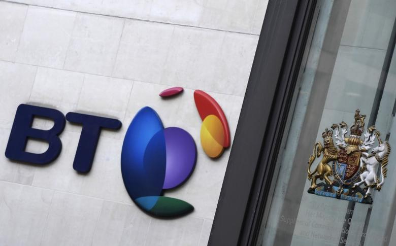 The logo for BT is seen outside of offices in the City of London, Britain, January 24, 2017. REUTERS/Toby Melville