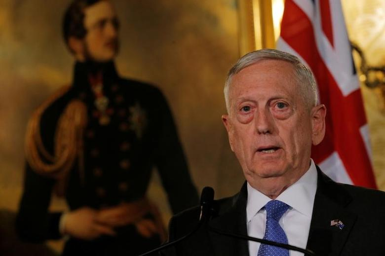 U.S. Secretary of Defence Jim Mattis speaks at a press conference at the Australia-United States Ministerial Consultations (AUSMIN) at Government House in Sydney, Australia, June 5, 2017.   REUTERS/Jason Reed