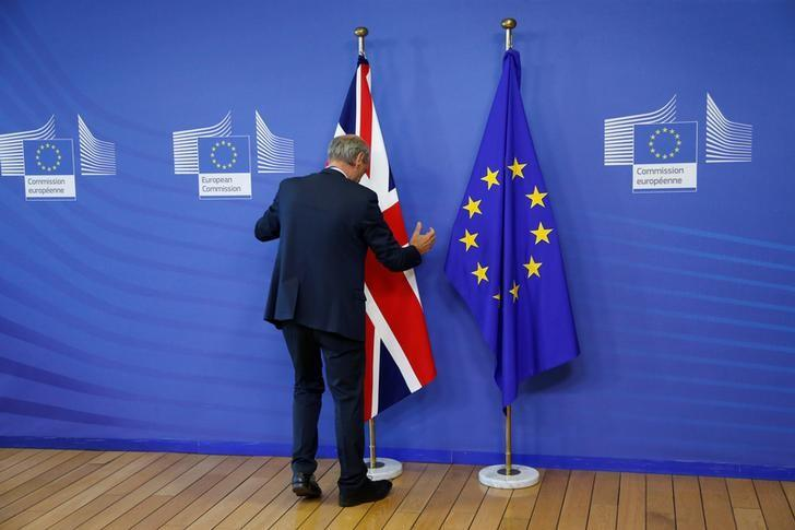 Flags are arranged at the EU headquarters as Britain and the EU launch Brexit talks in Brussels, June 19, 2017.    REUTERS/Francois Lenoir