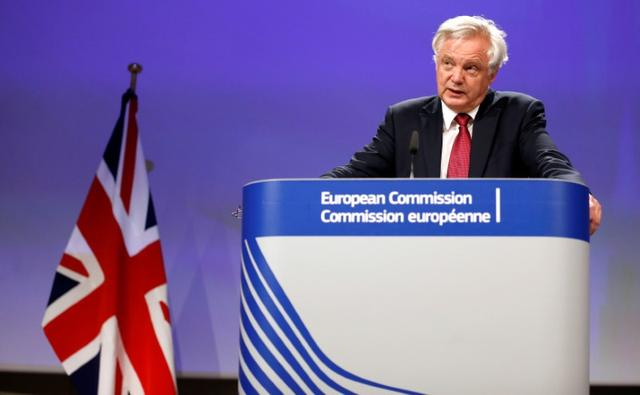 Britain's Secretary of State for Exiting the European Union David Davis speaks at the European Commission after the first day of Brexit talks in Brussels, Belgium, June 19, 2017.    REUTERS/Francois Lenoir