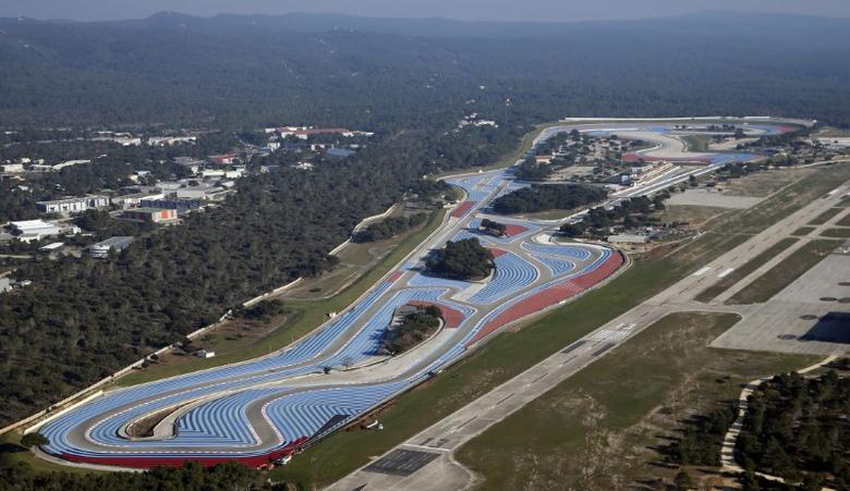 An aerial view shows the Paul Ricard circuit at Le Castellet near Marseille, France, in this picture taken on February 17, 2016. The French Formula One Grand Prix will return in 2018 after a 10-year absence it was announced December 5, 2016.      Picture taken February 17, 2016.    REUTERS/Jean-Paul Pelissier/File Photo - RTSUQL2