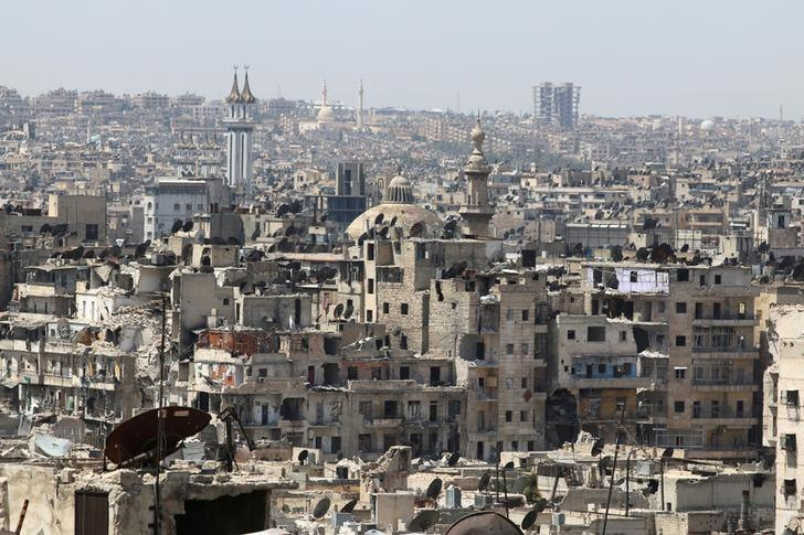 A general view shows government-controlled areas of Aleppo as seen from rebel-held part of the city, Syria August 22, 2016. REUTERS/Abdalrhman Ismail