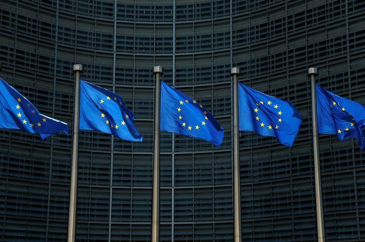 European Union flags flutter outside the EU Commission headquarters in Brussels, Belgium June 14, 2017. REUTERS/Francois Lenoir