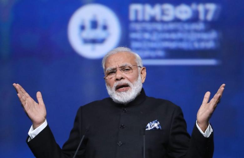 FILE PHOTO - Indian Prime Minister Narendra Modi gestures during a session of the St. Petersburg International Economic Forum (SPIEF), Russia, June 2, 2017. REUTERS/Mikhail Metzel/TASS/Host Photo Agency/Pool