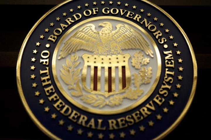 FILE PHOTO: The seal for the Board of Governors of the Federal Reserve...