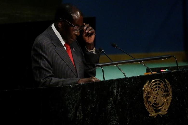President of Zimbabwe, Robert Mugabe speaks at the opening of The Ocean Conference at the United Nations in the Manhattan borough of New York City, New York, U.S. June 5, 2017.   REUTERS/Carlo Allegri