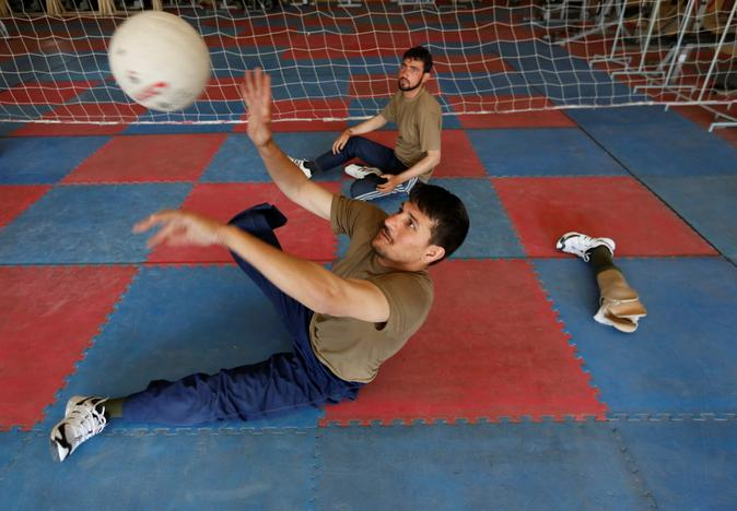 Salahuddin Zahiri 28, a wounded soldier from Afghanistan's National Army (ANA) practices for the Invictus Games competition, at the Kabul Military Training Centre (KMTC) in Kabul, Afghanistan July 4, 2017. Mohammad Ismail