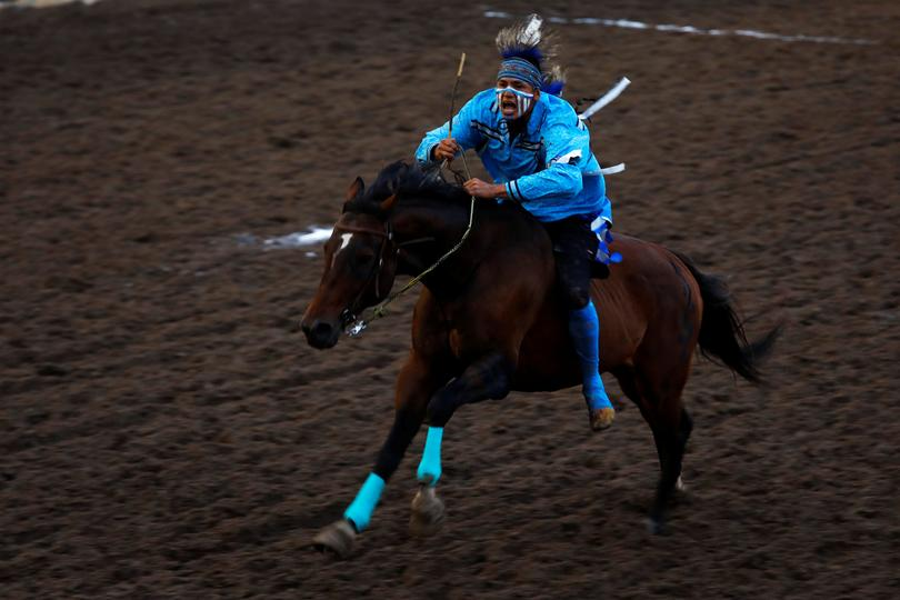 Traditional Indigenous Racing At The Calgary Stampede