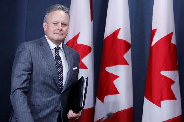 7月12日、7年ぶりの利上げを決めたカナダ銀行(中央銀行)のポロズ総裁(写真)は会見で、追加利上げのタイミングは今後の経済指標次第と強調し、市場にも指標に目を向けるよう促した(2017年 ロイター/Chris Wattie)