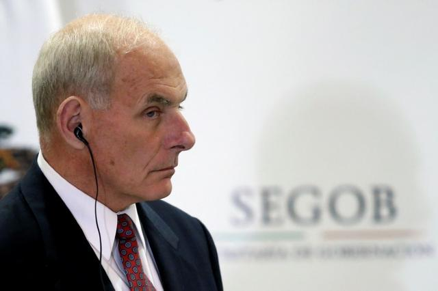U.S. Secretary of Homeland Security John Kelly looks on as he listens to Mexico's Interior Minister Miguel Angel Osorio Chong (not pictured) delivering a joint message at the Secretary of Interior Building in Mexico City, Mexico, July 7, 2017. REUTERS/Edgard Garrido