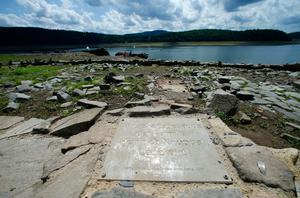 Village ruins revealed as reservoir recedes