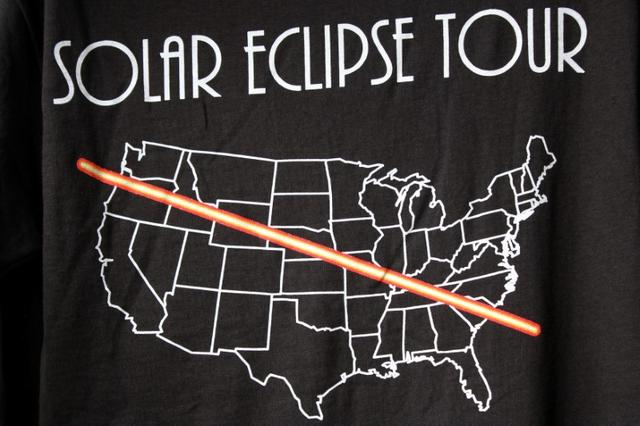 In preparation for the Solar Eclipse, t-shirts commemorating the day are shown in Depoe Bay, Oregon, U.S. August 9, 2017. Picture taken August 9, 2017.  REUTERS/Jane Ross