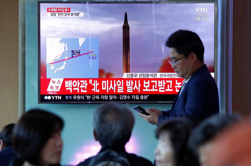 N.Korea fires missile over Japan that lands far out in the Pacific