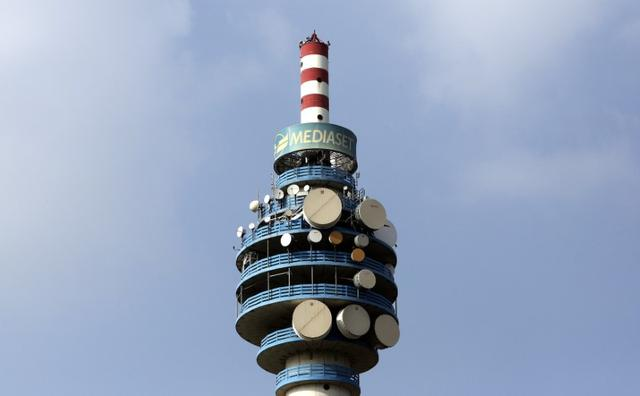 FILE PHOTO: The Mediaset tower is seen in Cologno Monzese neighbourhood Milan, Italy, April 7, 2016.  REUTERS/Stefano Rellandini