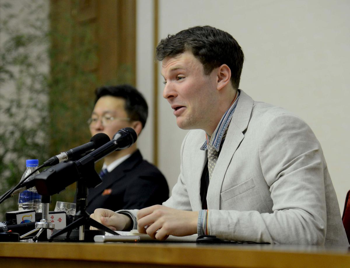 U.S. student held in North Korea died of oxygen starved brain: coroner