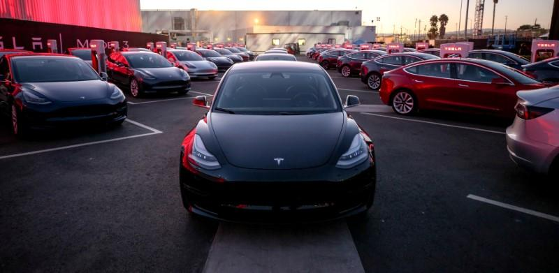 File Photo Tesla Model 3 Cars Are Seen As Holds An Event At The Factory Handing Over Its First 30 Vehicles To Employee Ers