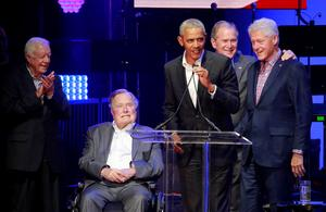 Former presidents unite for hurricane relief