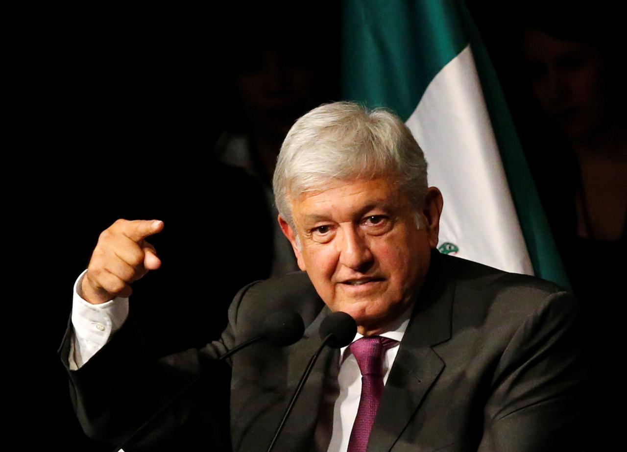 Mexico presidential candidate andres manuel lopez obrador of the national regeneration movement morena gives a speech as he presents his manifesto in
