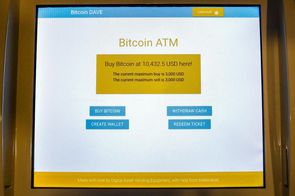 A Screen Displays The Price To Purchase Bitcoin At ATM Center NYC In New York City US November 27 2017