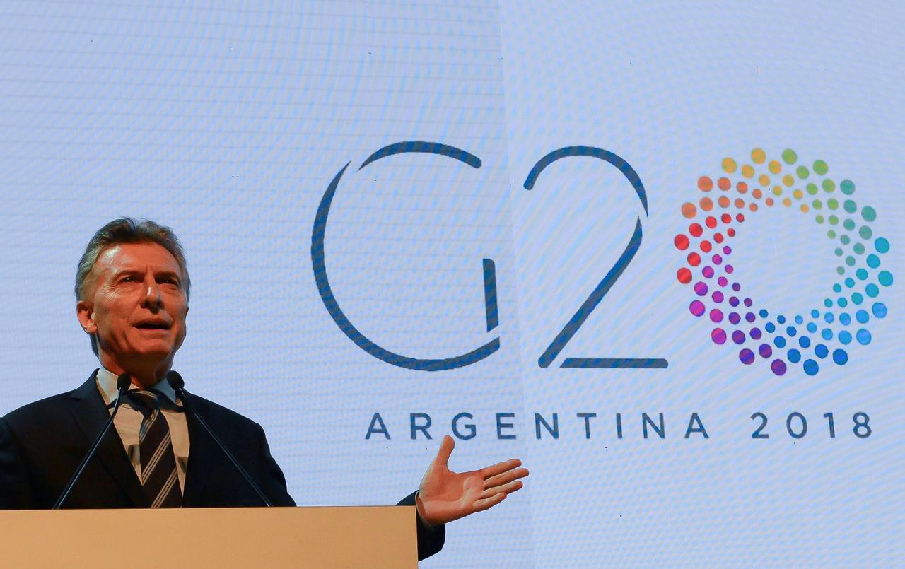 Il presidente dell'Argentina Mauricio Macri parla durante una cerimonia per il lancio della presidenza argentina del G20 a Buenos Aires, in Argentina. Credits to: Presidenza Argentina/REUTERS.