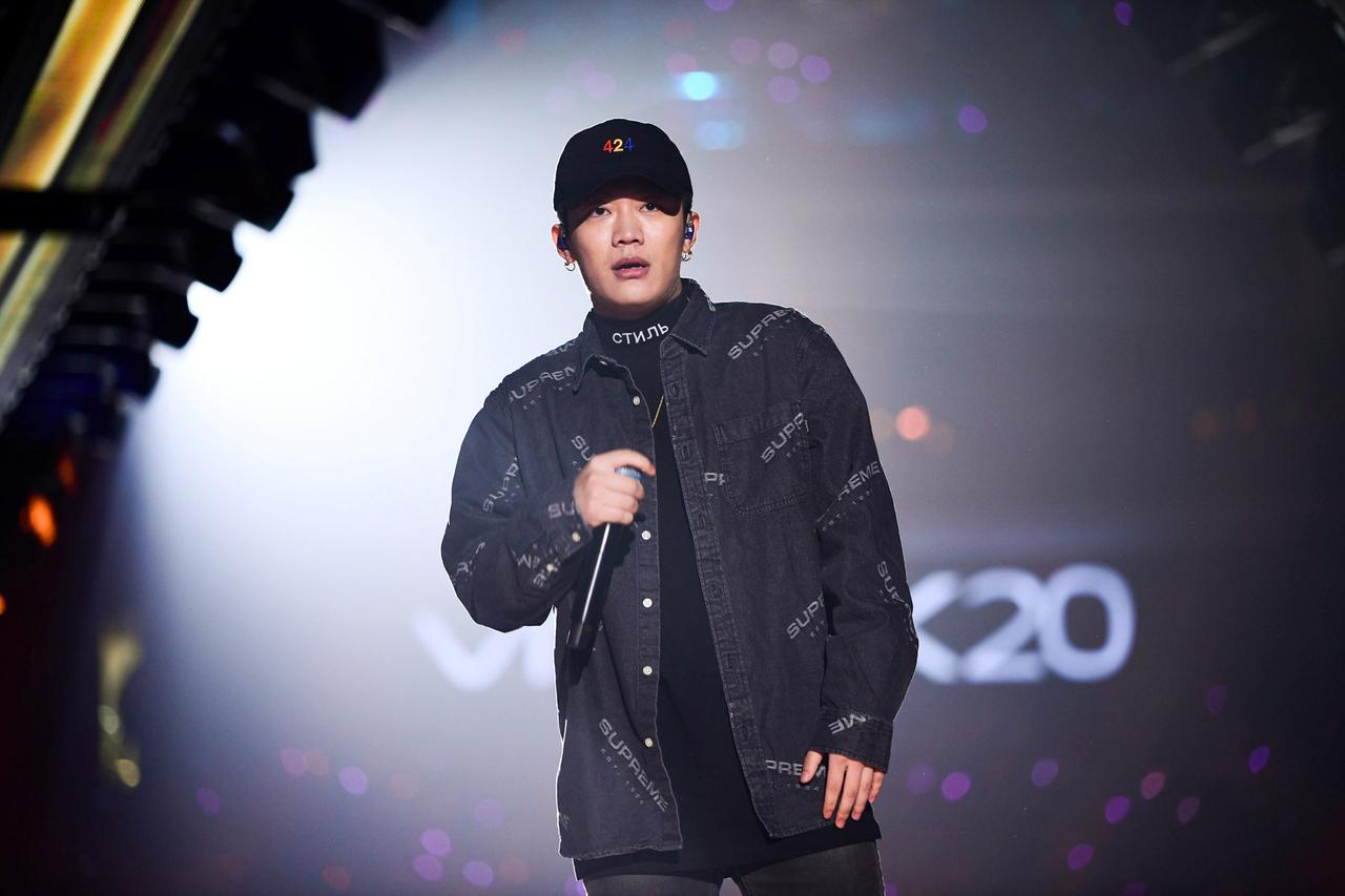 chinese rap singer wang hao better known by his stage name pg one performs during a new year concert in guangzhou guangdong province china january 1