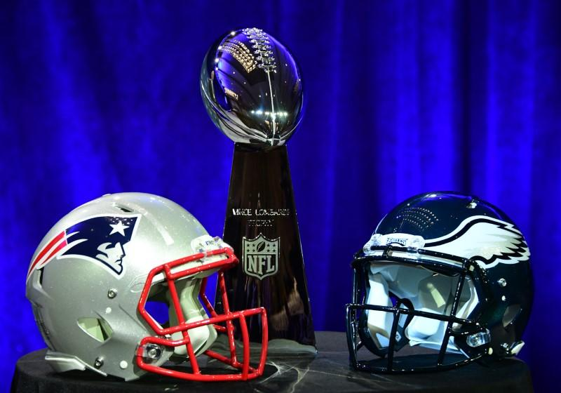 Jan 31 2018 Minneapolis MN USA A General View Of The Vince Lombardi Trophy And New England Patriots Philadelphia Eagles Helmets Prior To