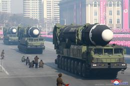 North Korea missiles on parade