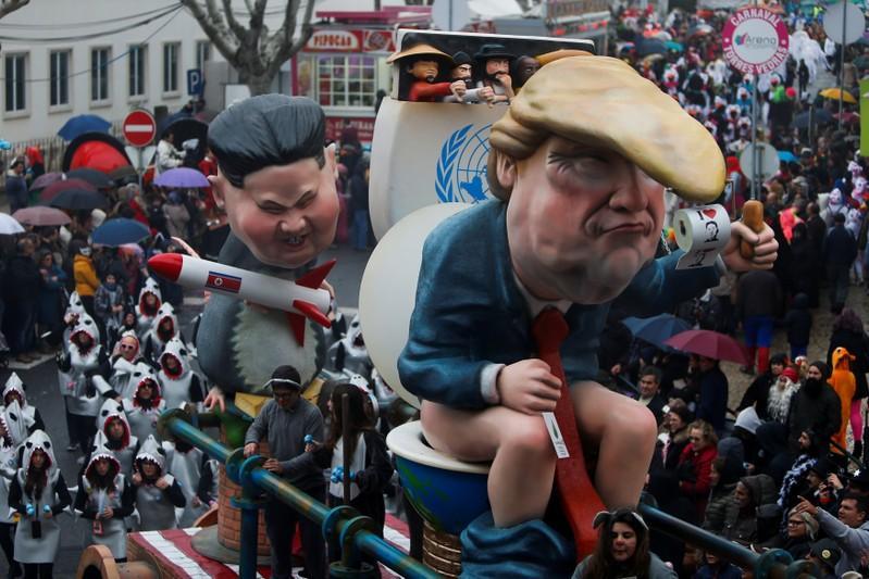 Portuguese carnival revelers poke fun at Putin, Trump and Kim