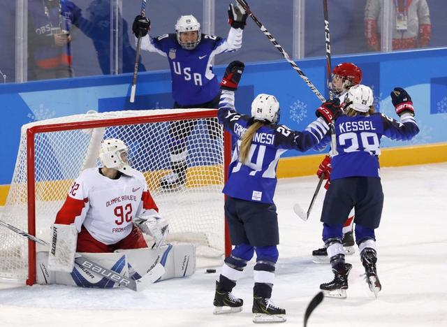 Ice Hockey – Pyeongchang 2018 Winter Olympics – Women Preliminary Round Match - U.S. v Olympic Athletes from Russia - Kwandong Hockey Centre, Gangneung, South Korea – February 13, 2018 - Hannah Brandt of the U.S. celebrates goal with teammates, next to goalkeeper Nadezhda Morozova, an Olympic athlete from Russia. REUTERS/Grigory Dukor