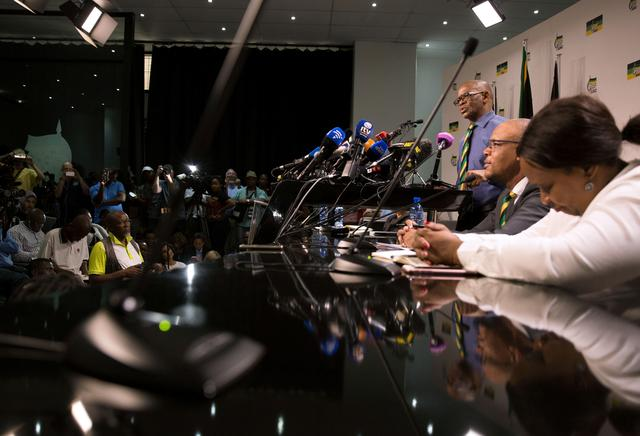 African National Congress (ANC) Secretary-General Ace Magashule and members of the ANC National Executive Committee address a media conference in Johannesburg, South Africa, February 13, 2018. REUTERS/James Oatway