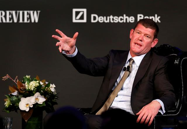 FILE PHOTO: Australian Businessman and founder of Australia's Crown Ltd James Packer gestures while answering questions at an evening business event in Sydney October 25, 2012. REUTERS/Tim Wimborne/File Photo