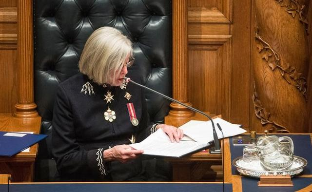 FILE PHOTO: Lieutenant-Governor Judith Guichon reads the speech from the throne to open the first session of the 41st Parliament of British Columbia, at the legislature buildings in Victoria, B.C., Canada June 22, 2017. REUTERS/Jonathan Hayward/Pool