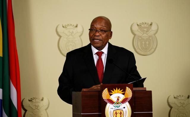 South Africa's President Jacob Zuma speaks at the Union Buildings in Pretoria, South Africa, February 14, 2018. REUTERS/Siphiwe Sibeko