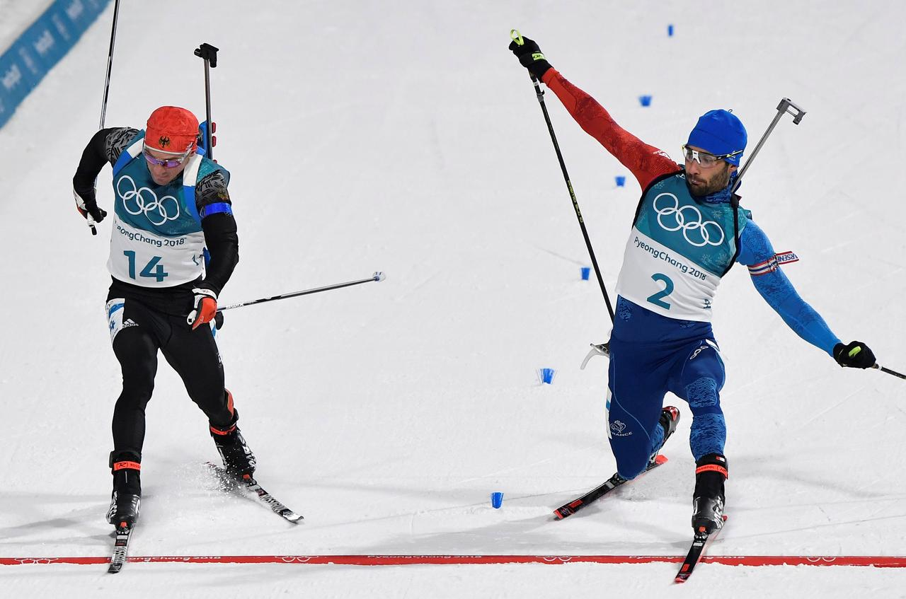 Image result for biathlon photo finish pyeongchang 2018