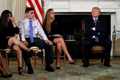 Trump meets with shooting survivors