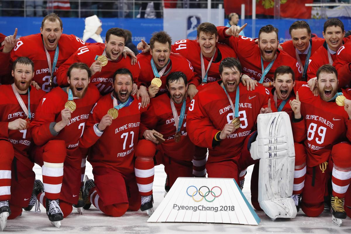 Russian ice hockey gold medalist sing national anthem