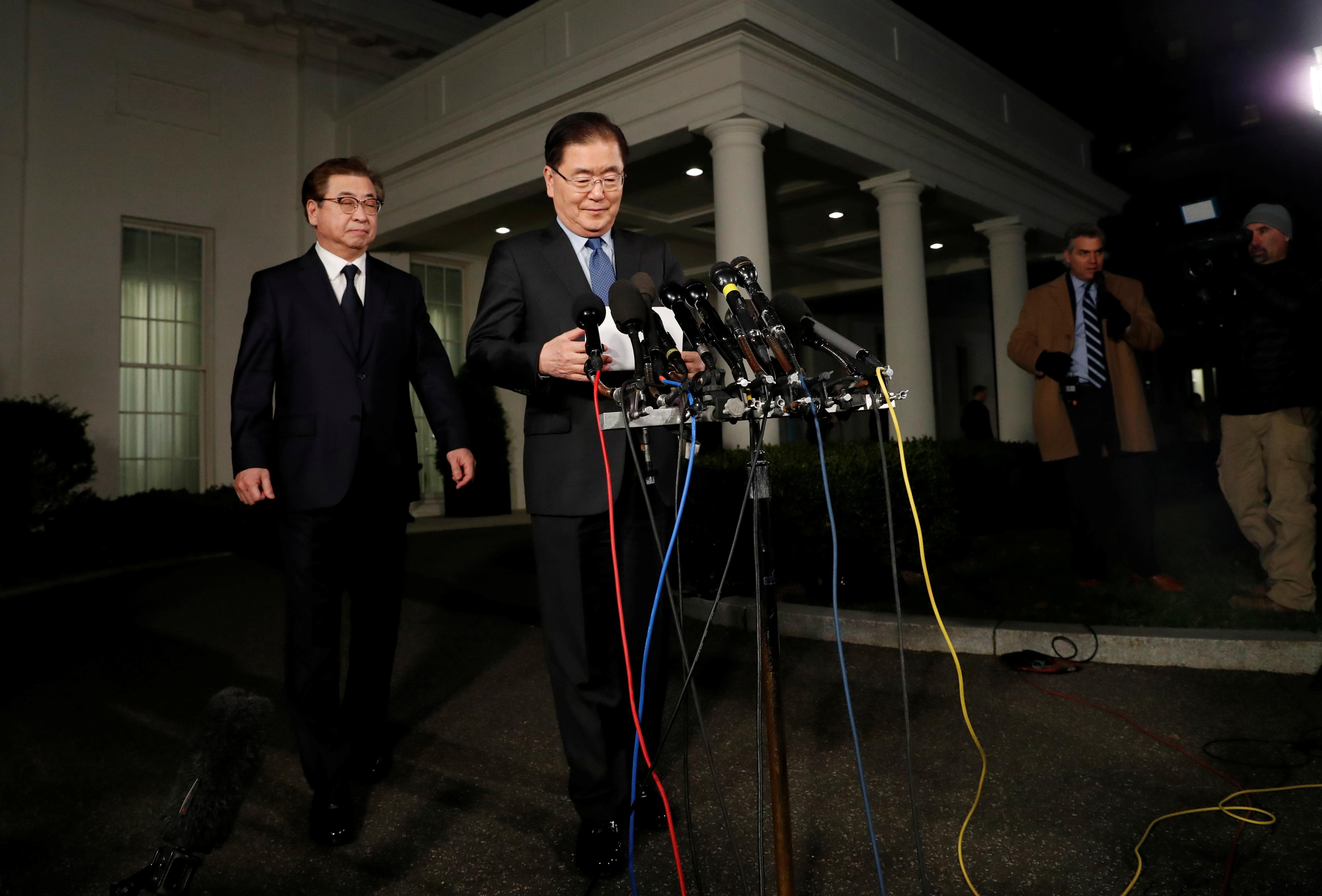 South Korea official's speech on Trump-North Korea leader meeting by May