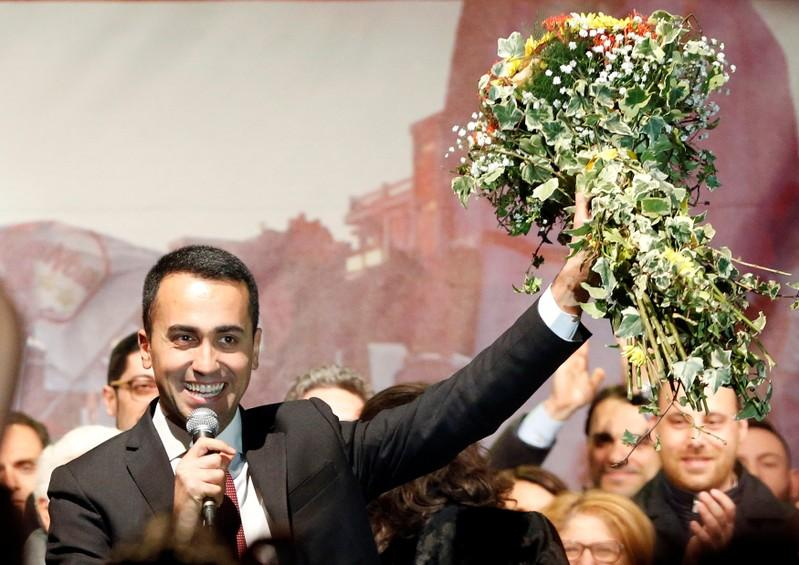 Italy's 5-Star Movement leader Luigi Di Maio celebrates his party's election gains with supporters in Pomigliano D'Arco, March 6, 2018. Ciro De Luca