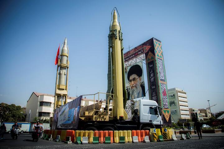 FILE PHOTO: Supreme leader display seen at Baharestan Square in Tehran