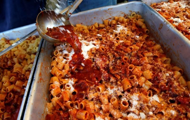 Volunteers Prepare Amatriciana A Type Of Pasta Dish Created In Amatrice SantAngelo Central Italy August 28 2016 REUTERS Ciro De Luca