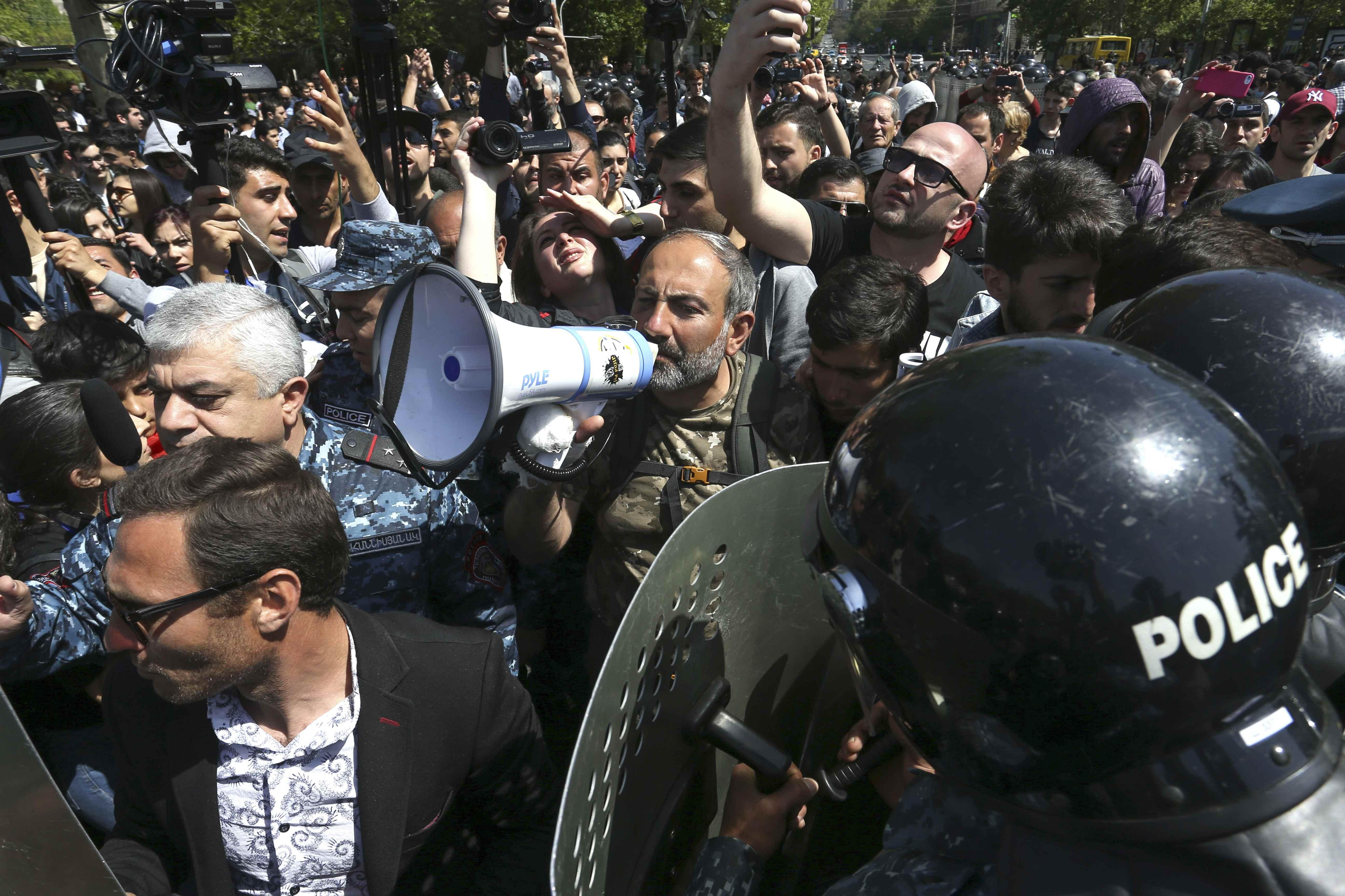 Thousands protest in Armenian capital as Sarksyan approved as PM
