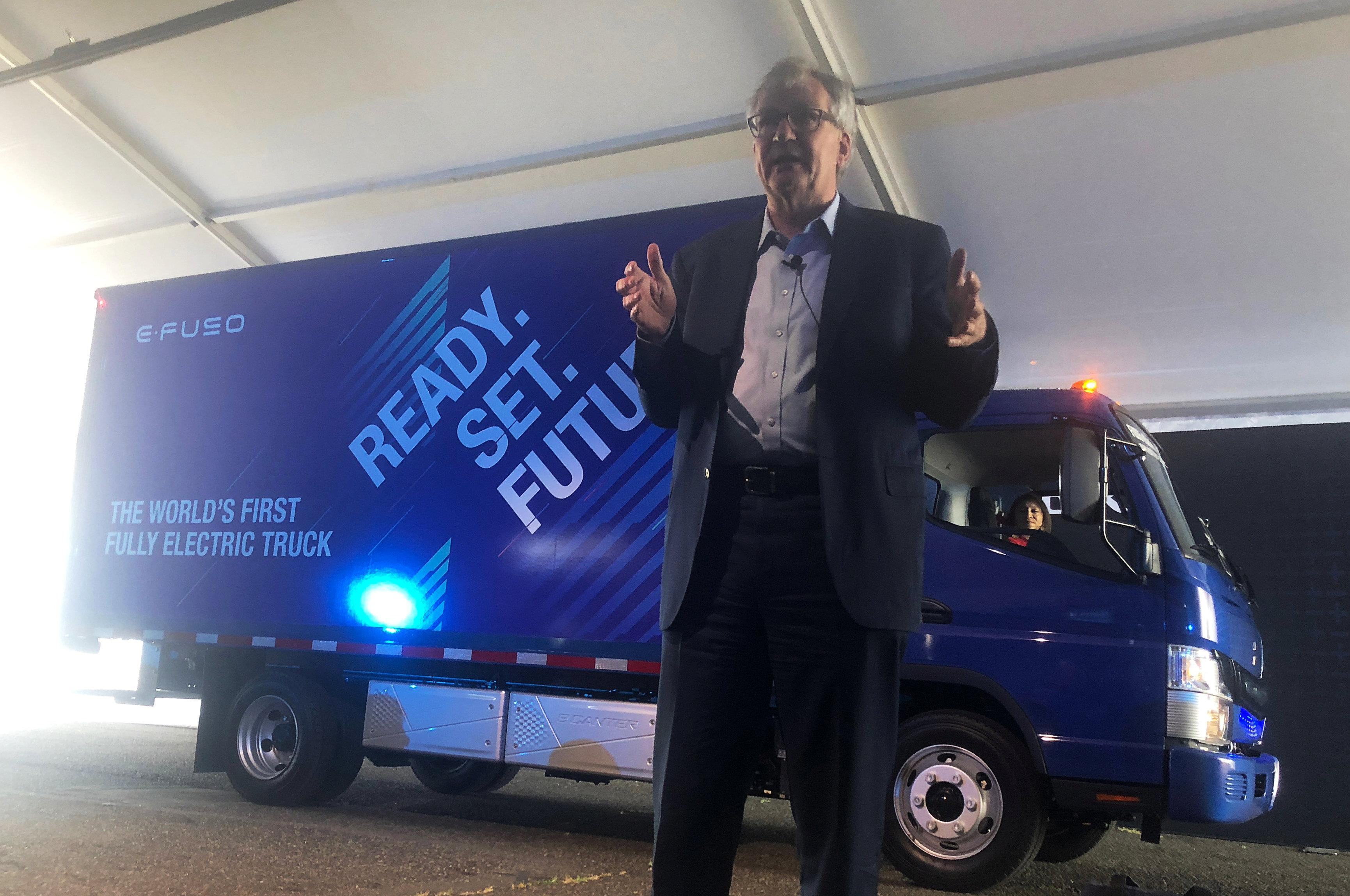 Martin Baum Head Of Daimler Trucks And The Buses Divisions Speaks At An Investors Event Portland International Raceway In Oregon