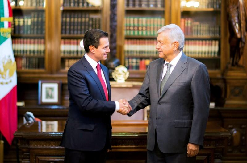 Pompeo to visit mexican president elect discuss immigration trade mexicos president enrique pena nieto and mexicos president elect andres manuel lopez obrador shake hands during a meeting at national palace in mexico m4hsunfo