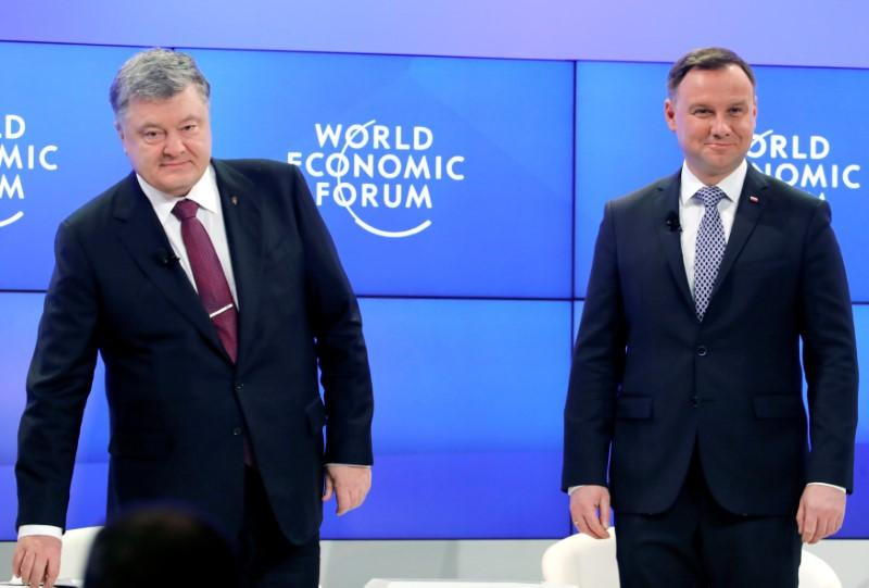Poland's President Andrzej Duda and Ukraine's President Petro Poroshenko attend the World Economic Forum (WEF) annual meeting in Davos, Switzerland January 26, 2018. Denis Balibouse