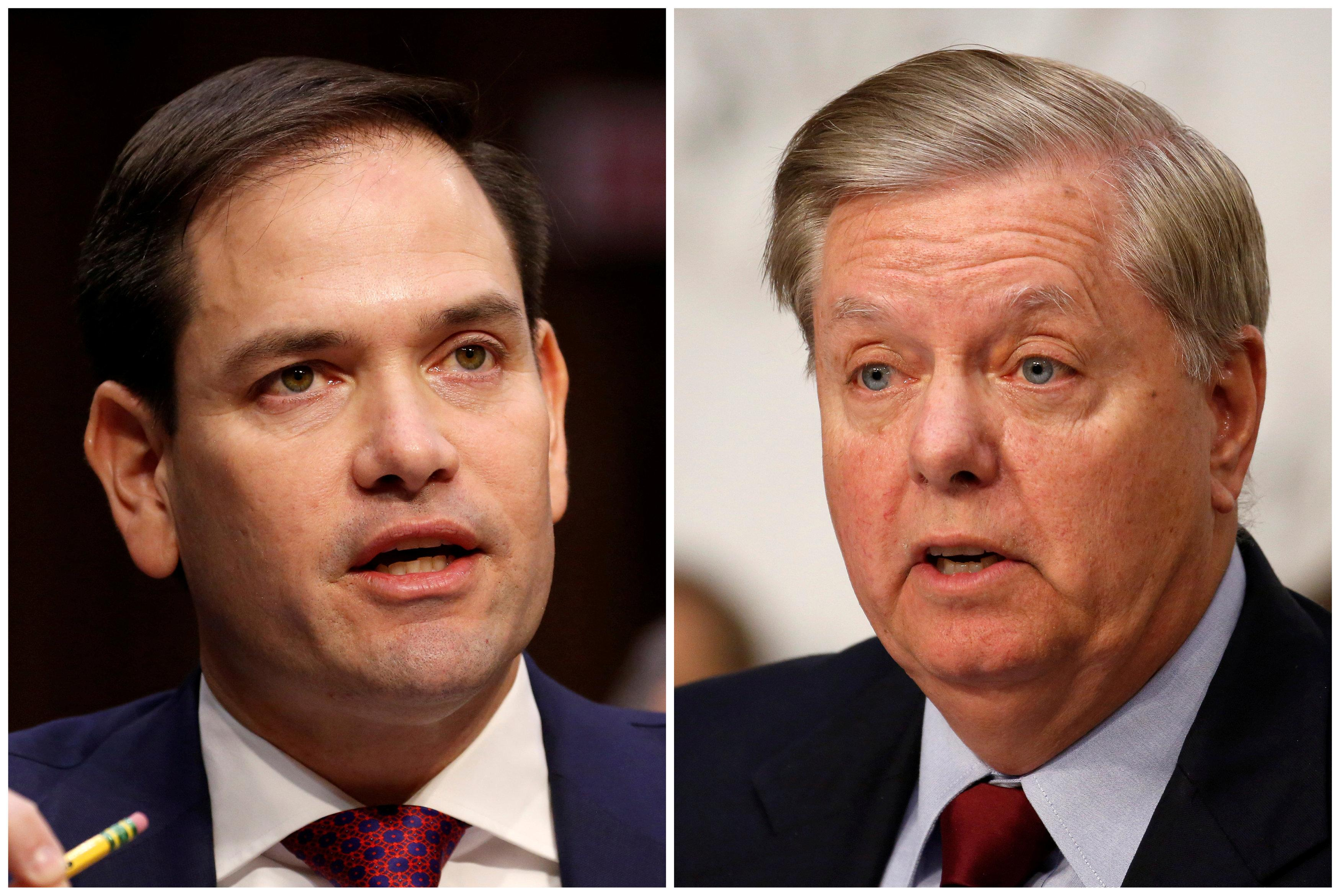 FILE PHOTOS: Republican U.S. Senators Marco Rubio (L) and Lindsey Graham are seen in this combination photo from U.S. Senate hearings on Capitol Hill in Washington, U.S. on March 14, 2018 and on June 18, 2018 respectively.  Joshua Robertss