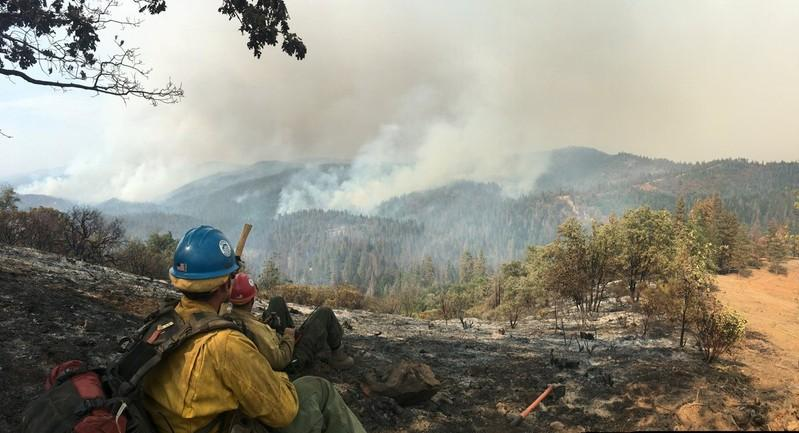 The Sierra Hotshots, from the Sierra National Forest, are responding on the front lines of the Ferguson Fire in Yosemite in this US Forest Service photo from California, U.S. released on social media on July 22, 2018.   Courtesy USDA/US Forest Service, Sierrra Hotshots/Handout via
